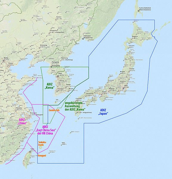 Air Defense Identification Zone of Japan (blue) and China (pink)