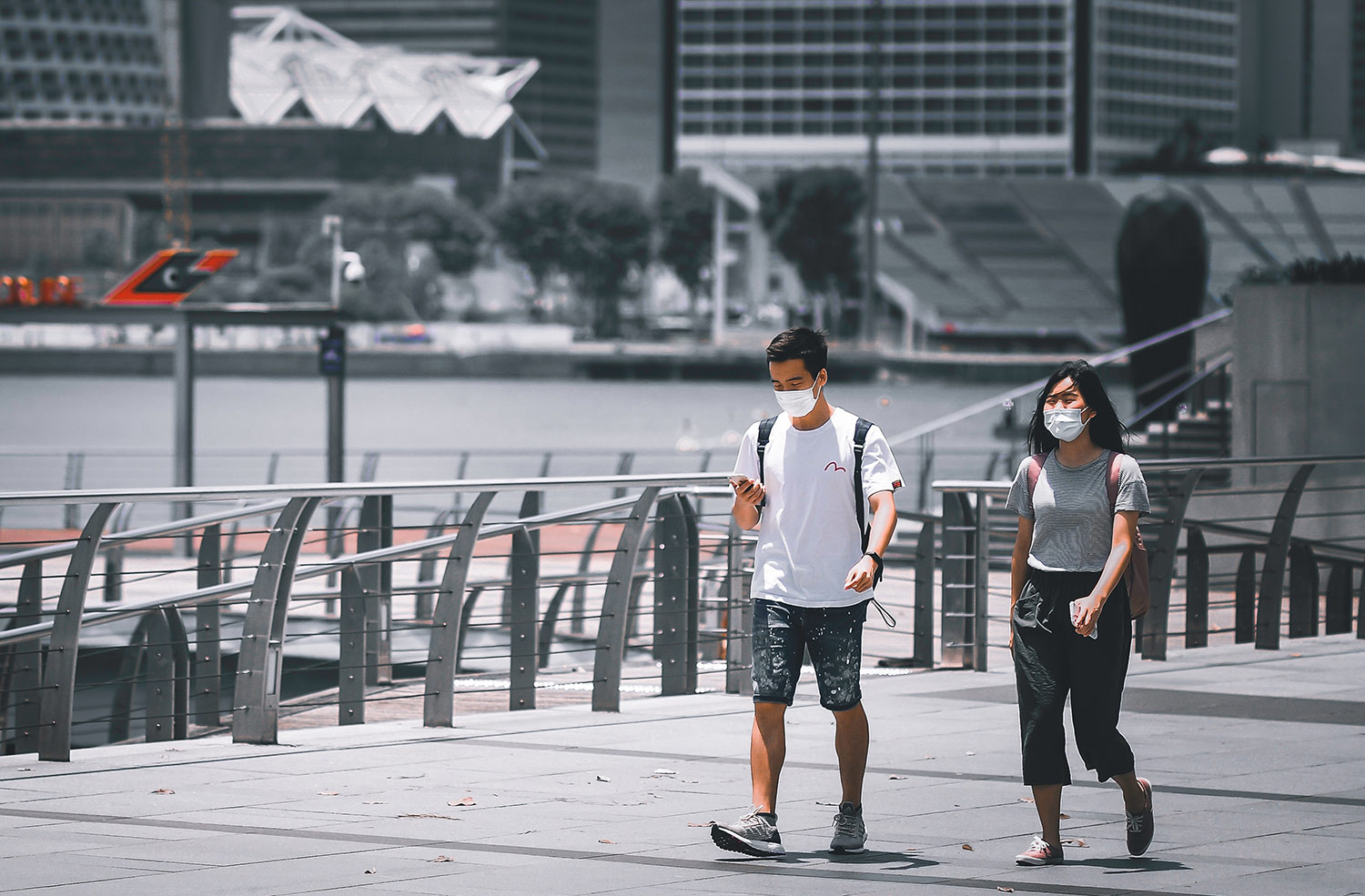 Marina Bay, Singapore. As of 9 August 2020, there are a total of 55,104 confirmed cases, with 48,915 recoveries and 27 deaths. (MOH Singapore)